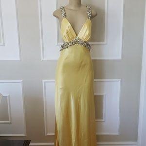 ❗SALE❗Yellow backless scrunch butt gown
